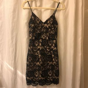 EXPRESS black and Tan lace mini dress